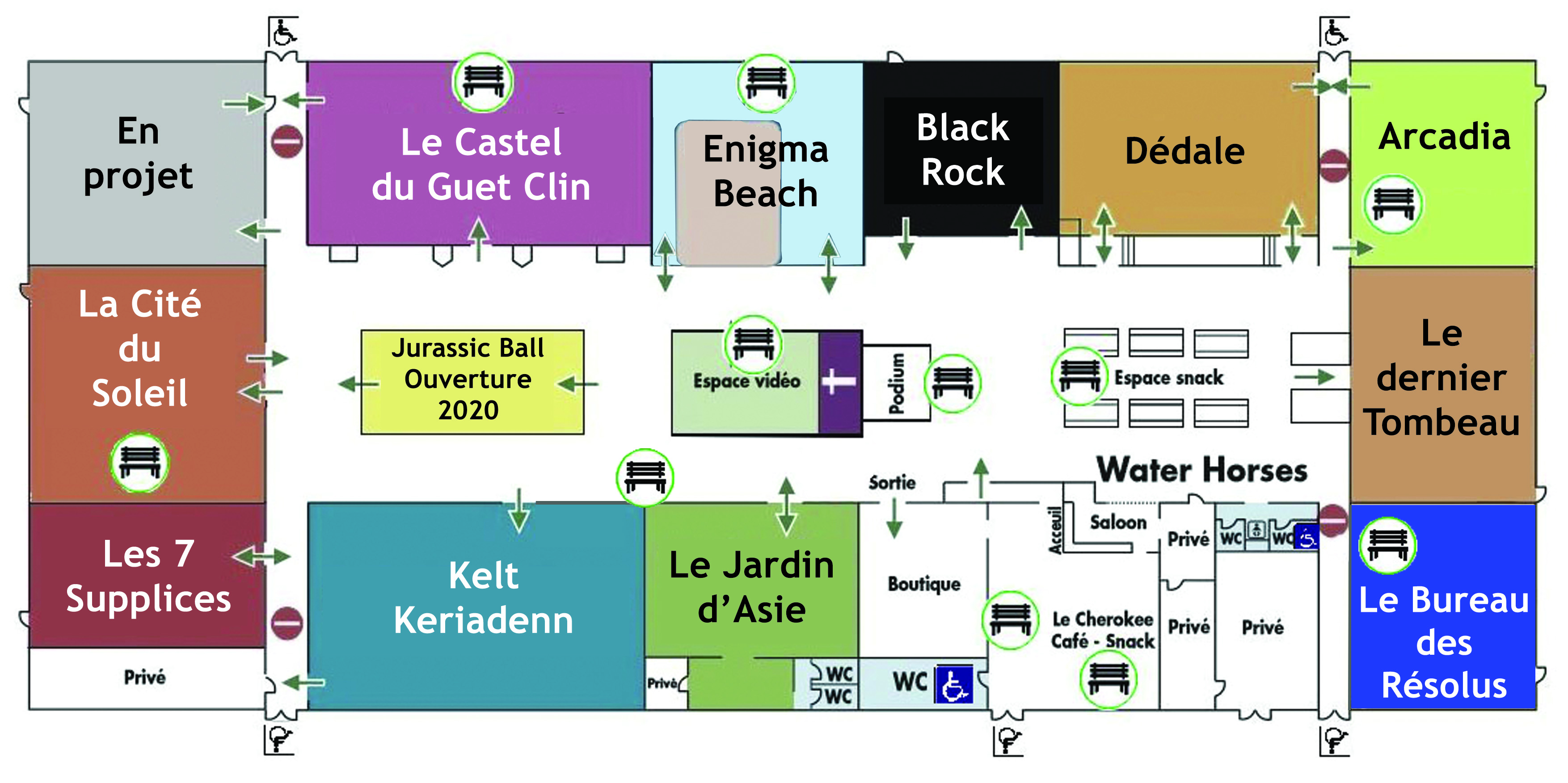 Plan des zones de repos Enigmaparc