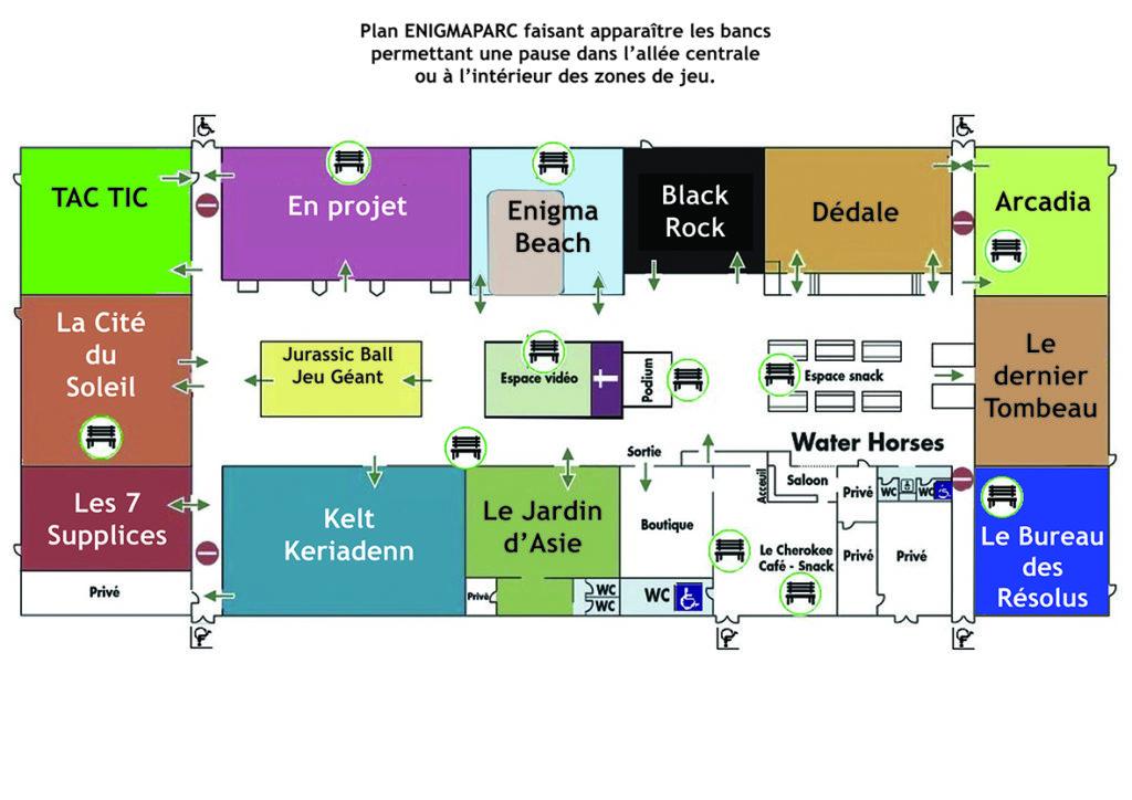 Plan des bancs à Enigmaparc