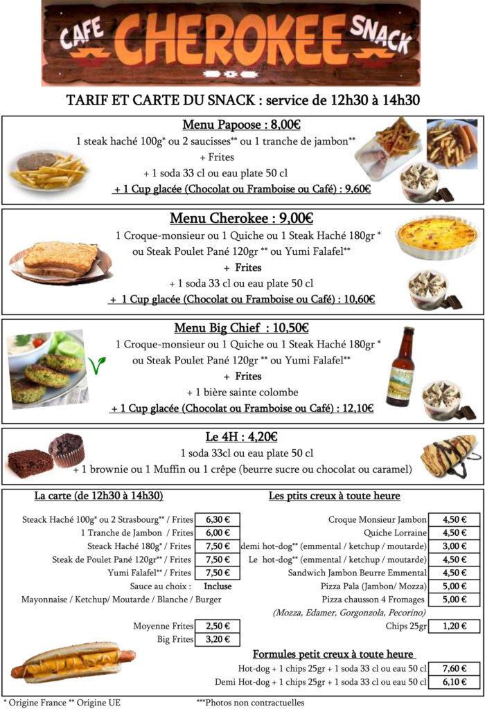 snack bar menu